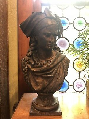Antique Bronze Bust Alsace- Crying Woman In Alsatian Clothing - French
