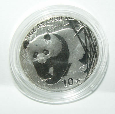 2001 China Panda 1 Oz Coin 10 Yuan .999 Fine Silver