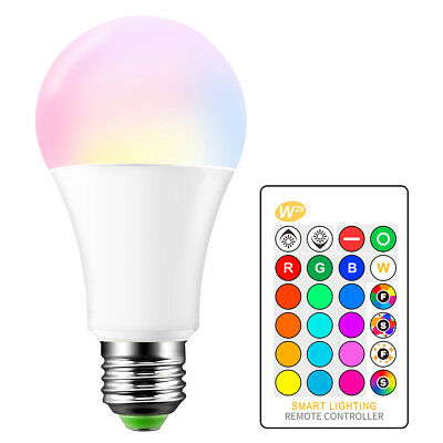 5W 15W 10W E27 LED RGB Bulb Dimmable Memory With Remote Control 16color Changing