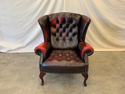 English Wing Back Chesterfield Leather Chair