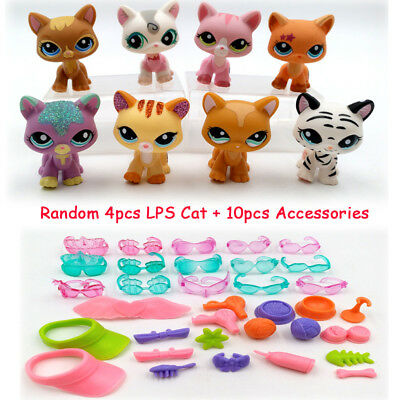 Random 4pcs LPS Cat Littlest Pet Shop 10pcs Accessories Gift Kid Toy #2255 #1788