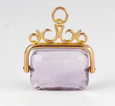 Antique 9Ct Rosey Gold & Genuine Amethyst Spinning Fob /Pendant