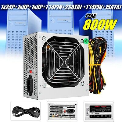 800W Watt Power Supply PSU PFC Silent Fan ATX 24-PIN PC Computer Gaming NEW