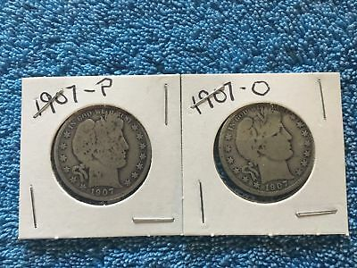 1907 P and O Barber / Liberty Head Silver Half Dollars Silver Collection US