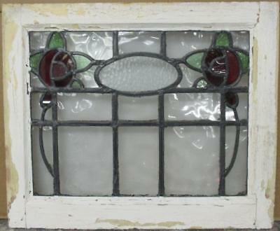 """OLD ENGLISH LEADED STAINED GLASS WINDOW Gorgeous Double Floral 20.5"""" x 17"""""""