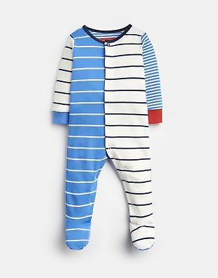 Joules Baby 203981 All Over Print Babygrow With Feet in WHITBY BLUE STRIPE