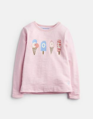 Joules Girls Printed Sweatshirt in ROSE PINK