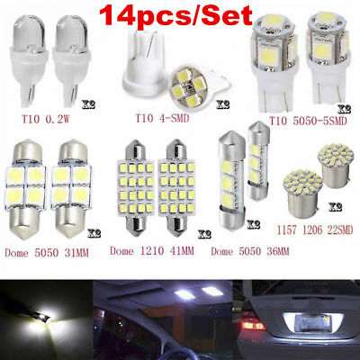 14x White LED Interior Package Kit T10&36mm Map Dome License Plate Light Lamp