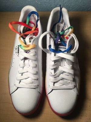 new arrival c2d10 f44ff PUMA CLYDE PRIDE 365742 01 Rainbow/White Gay Pride LGBTQ Shoes Size 9 1/2 US