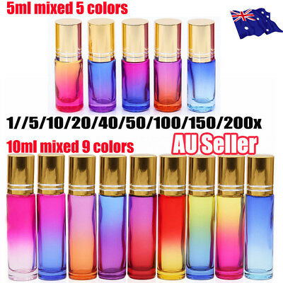 200Pcs 5/10ml Thick Gradient Glass Roll On Bottles Steel Roller Essential Oil !R
