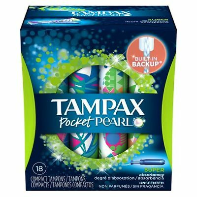 Tampax Pocket Pearl Unscented Super Absorbency Compact Plastic Tampons