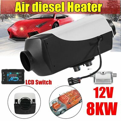 8KW 12V Air diesel Heater For Car  Motor-homes Boats Bus + LCD Switch + SilencC@