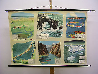Beautiful Old Schulwandkarte Seas Coasts Islands Atolle 46 1/8x32 5/16in Vintage