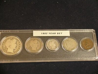1902 Vintage Circulated Year Set - Nice 5-Coin Set