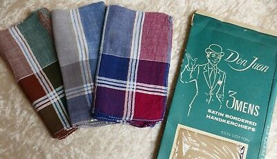 Vintage 1960/1970s Boxed Men's Cotton Hankies Handkerchiefs x 3 Don Juan Checked