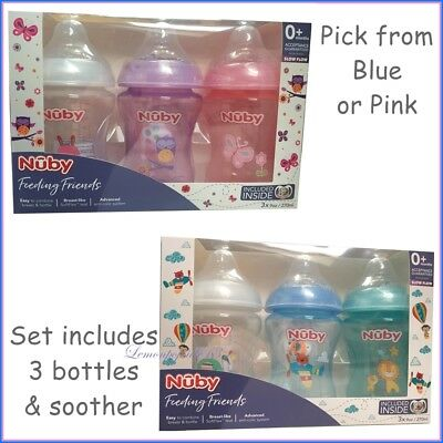 Nuby Newborn Natural Touch 3 x Baby Bottles 270ml & Dummy Soother Choose Colour