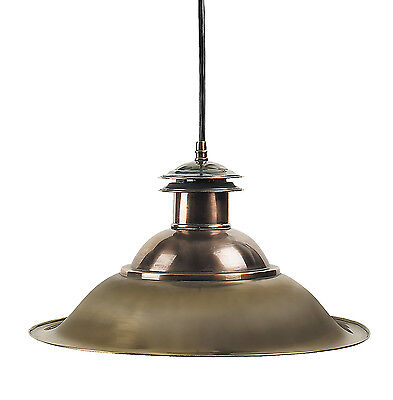 "Charleston Hanging Nautical Dock Lamp Ceiling Fixture Light 13"" Brass & Copper"