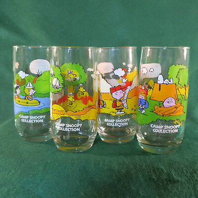 b699c08325 MCDONALDS CAMP SNOOPY Collection Glass Tumblers Set of Four 1983 ...