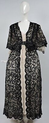 Victorian 19Th C Black Spanish Lace Long Dress W Cape Sleeves & Beading