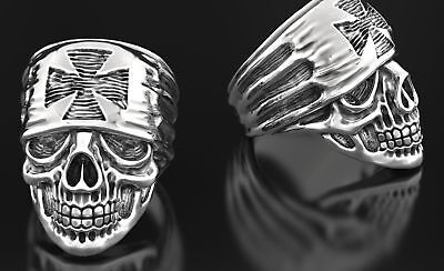 Heavy Gothic Skull Men's Biker Punk Oxidized In 925 Sterling Silver Ring