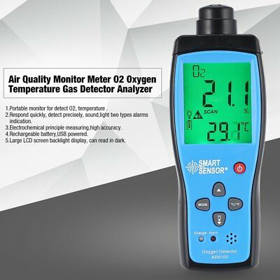 Air Quality Monitor Meter O2 Oxygen Temperature Gas Detector Analyzer Tester  UW