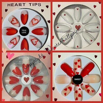 PRIMARK False Nails Love Hearts Valentines DESIGNS 24 Nails with Adhesive Glue