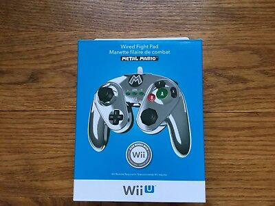 NEW Metal Mario Wired Fight Pad for Nintendo Wii U Super Smash Bros. PDP 085-006
