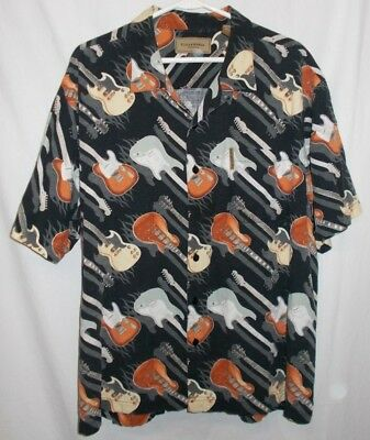 Clearwater Outfitters Guitar Print Button Front Short Sleeved Mens Size XL
