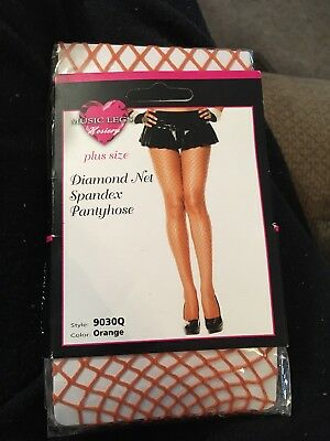 31a4210762545 New 9030Q Plus Queen Size Orange Fish Net Spandex Pantyhose Music Legs  Hosiery