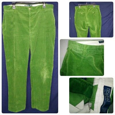 Vtg Mens Pants Ralph Lauren Bright Green Corduroy Pants Actual 34X30 Soft