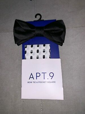 3ddc1cfd9f51 NEW APT. 9 MENS BOW TIE & POCKET SQUARE - Black Double Dots - RETAILS