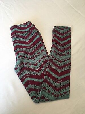 Lularoe Brand New Tween Leggings Maroon And Sea foam Green