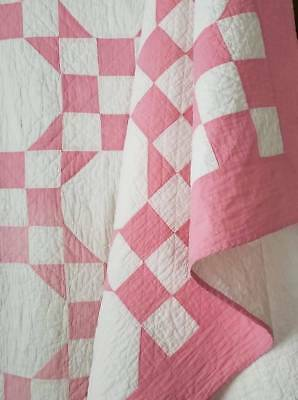 Cottage Romance! Vintage 30s Pink & White Sweetheart Snowball QUILT 81x66 Hearts