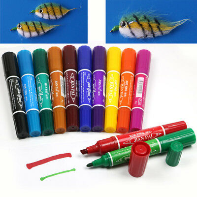 12 Colors Fly Tying Fishing Permanent Waterproof Twin Markers Lure Flies Fishing
