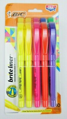 BIC Brite Liner Chisel Tip Fluorescent Highlighter Assorted 10 Pack ShippedFree