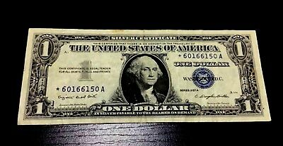 1957-A Star $1 Silver Certificate One Dollar Bill Usa Paper Small Size Currency!