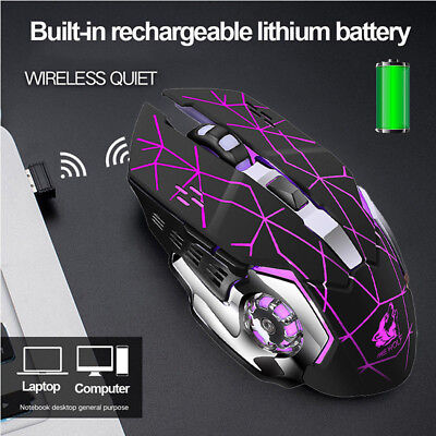 X8 Rechargeable Wireless Mute LED Backlit USB Optical Ergonomic Gaming Mouse AU