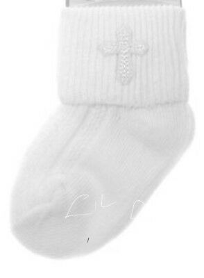 Baby Girl Or Boy White Christening Embroidered Cross Emblem Ankle Socks 🇮🇪🇮🇪