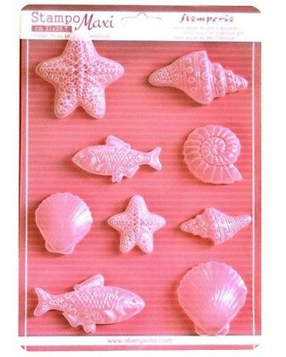 1 FOGLIO CON 9 STAMPI A TEMA marino Stamperia CLAY CONCHIGLIE MARE ESTATE FOR...