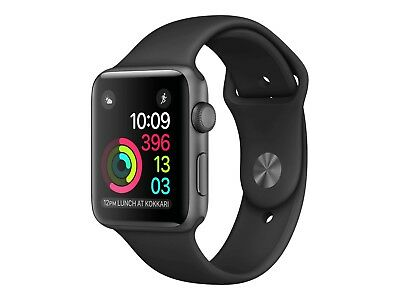 Brand New Apple Watch Series 1 38mm Space Gray Aluminum Sport Band Black