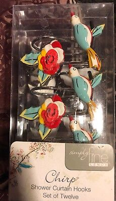 Lenox Simply Fine Chirp Shower Curtain Hooks, Multi-Color  12 Hooks NIB