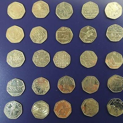 Rare collectible 50p Coins from 1994 to present (circulated)