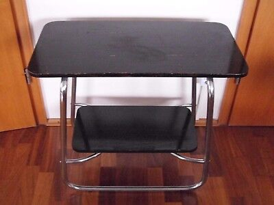 Rare Original Bauhaus Art Deco Chrome Steel Clock shelf side table