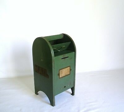 Pressed Steel Postal Mailbox Bank Tin Antique Toy Coin Post Office Original