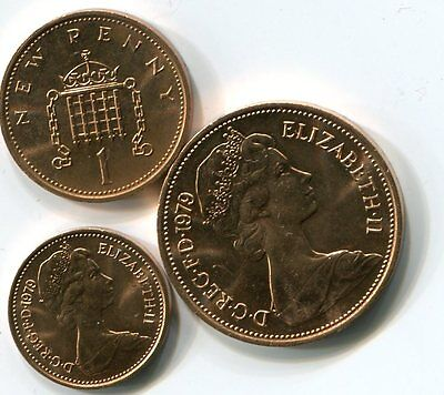 Half New Penny One New Penny & Two New Pence 1979 Uncirculated