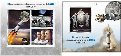 Apollo 11 Space 50 Anniversary Moon Landing Armstrong Congo 2019 Mnh Stamp Set