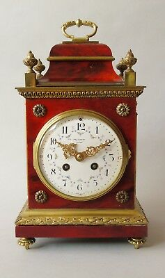 Red Tortoiseshell & Gilt Metal Striking Bracket Clock