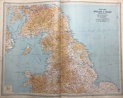 England & Wales, 1939 Vintage Road Map, Bartholomew, Atlas, Northern Section