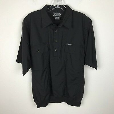Mens Vintage 1980s Members Only Shirt Size M Black Short Sleeve Logo Buttons