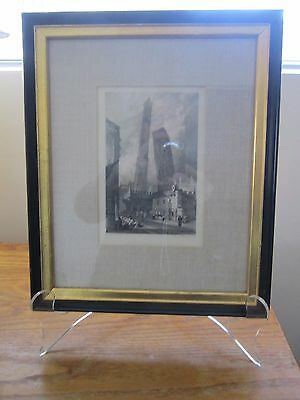 Antique Framed Print/ Charles Heath Engraving~~Sam Prout, Watchtowers at Bologna